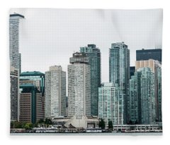 Toronto Skyline Panorama Fleece Blanket