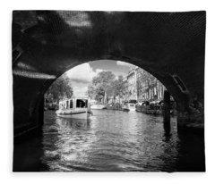 Tourboat On Amsterdam Canal Fleece Blanket