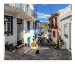 Town Of Skopelos Fleece Blanket