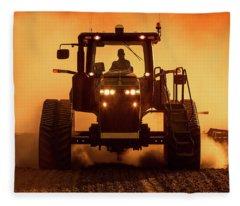 Tractor And Dust Fleece Blanket