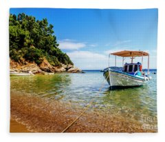 Traditional Colorful Boats In Old Town Of Skiathos Island, Spora Fleece Blanket