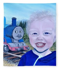 Train Fleece Blanket