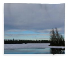 Tranquil Arctic River Fleece Blanket