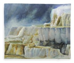 Travertine Terraces - Mammoth Hot Springs, Yellowstone National Park Fleece Blanket