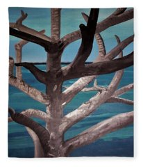 Tree And Beach Fleece Blanket