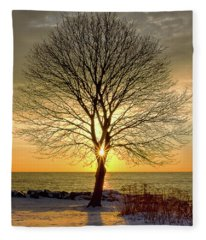 Tree Framed Sunrise New Hampshire Fleece Blanket