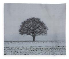 Tree In The Snow Fleece Blanket