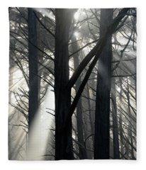 Trees And Fog Fleece Blanket