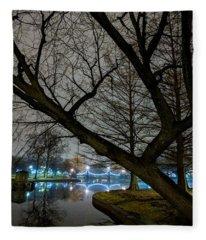 Trees And Lights Fleece Blanket