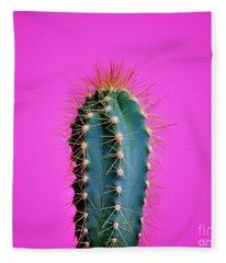 Trendy Neon Cactus Closeup Over Bright Pink Pastel Background. C Fleece Blanket