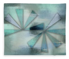 Triangles On Blue Grey Backdrop Fleece Blanket