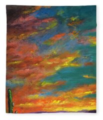 Triptych 1 Desert Sunset Fleece Blanket