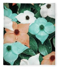 Tropical Dogwood Flowers Fleece Blanket