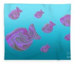 Tropical Fish In Pink Psychedelic Pattern Fleece Blanket