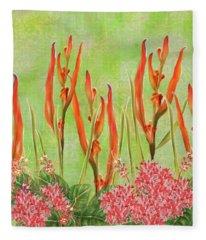 Tropical Floral Print Lime Green Batik Fleece Blanket