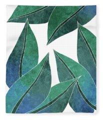Tropical Leaf Illustration - Blue, Green - Botanical Art - Floral Design - Modern, Minimal Decor Fleece Blanket