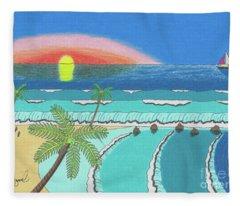 Tropical Sunrise Fleece Blanket