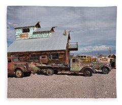Trucks Lined Up In Nelson Fleece Blanket