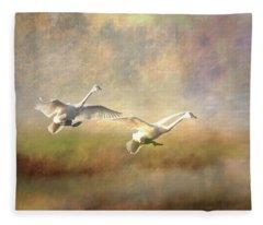 Trumpeter Swan Landing - Painterly Fleece Blanket