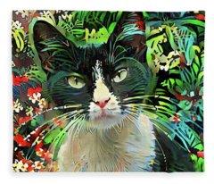 Tucker The Tuxedo Cat Fleece Blanket