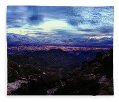 Tucson Twilight Panorama Fleece Blanket