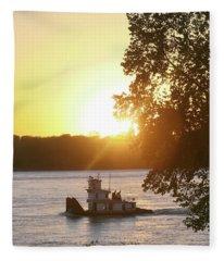 Tugboat On Mississippi River Fleece Blanket