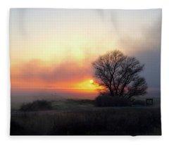 Tule Fog Sunrise  Fleece Blanket