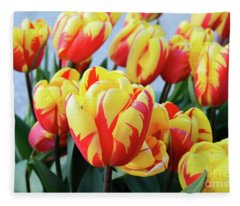 Tulips And Tiger Stripes Fleece Blanket