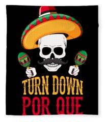 Turn Down Por Que Cinco De Mayo Fleece Blanket