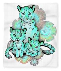 Turquoise Leopards Fleece Blanket