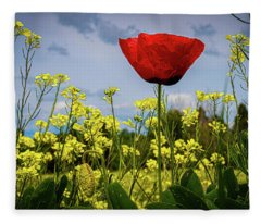Tuscan Poppy  Fleece Blanket