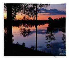 Twilight By The Lake Fleece Blanket