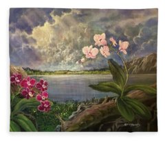 Twilight Orchids Fleece Blanket