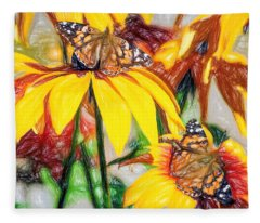 Twin Painted Lady Butterflies Pencil Fleece Blanket
