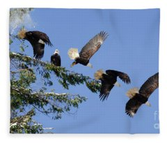 Two Bald Eagles  Fleece Blanket