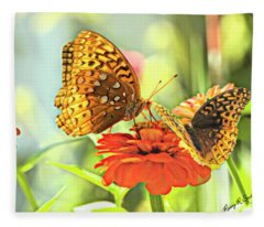 Two Butterflies On One Flower. Fleece Blanket