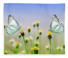 Two Butterflies Fleece Blanket