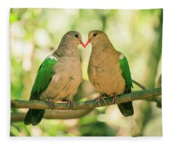 Two Colourful Doves Resting Outside On A Branch. Fleece Blanket
