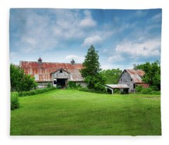 Two Old Barns Fleece Blanket