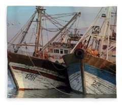 Two Old Fishing Boats At Rest Fleece Blanket