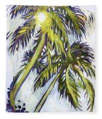 Two Palm Sketch Fleece Blanket