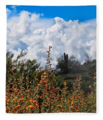 Fleece Blanket featuring the photograph Under  A White Fluffy Cloud by Judy Kennedy