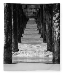 Under The Pier #2 Bw Fleece Blanket