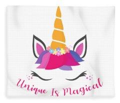 Unique Is Magical - Baby Room Nursery Art Poster Print Fleece Blanket