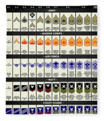 United States Armed Forces Enlisted Rank Insignia Fleece Blanket