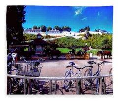 Uper Michigan Mackinaw Island Bike Stand   Fleece Blanket