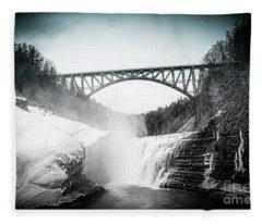 Upper Falls At Letchworth State Park Fleece Blanket