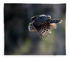Ural Owl Flying Against The Light To Catch A Prey  Fleece Blanket