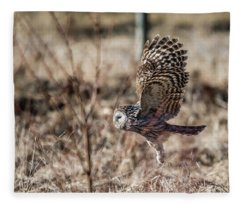 Ural Owl Flying Close To The Ground Fleece Blanket