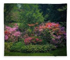 Urban Flower Garden Fleece Blanket